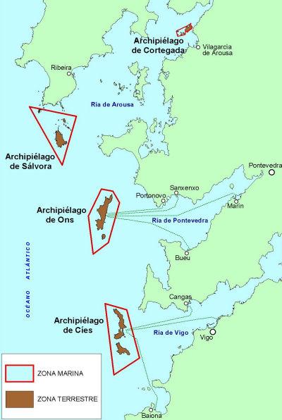Cartina Spagna Galizia.L Arcipelago Di Cies Al Largo Della Costa Galiziana Tierra