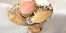 anillo mare , oro corallo y diamantes