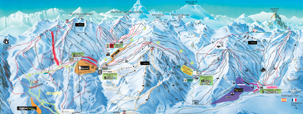 Pista da sci in Spagna Formigal Panticosa mappa
