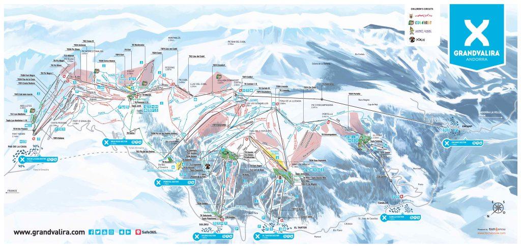 Stazione sciistica in Spagna Grandvalira mappa