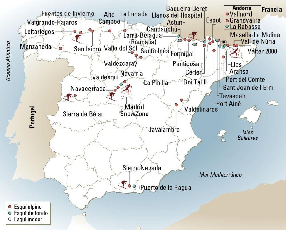 Sciare in Spagna mappa